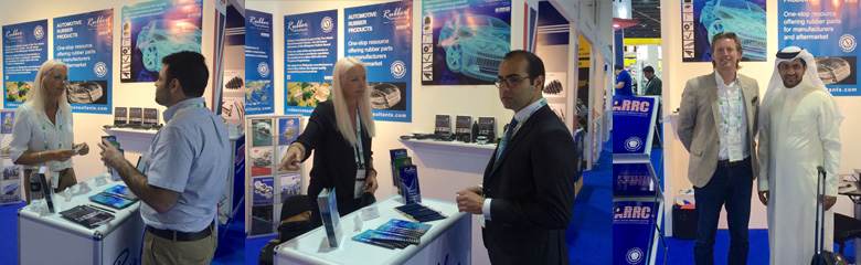 TARRC and RC's Gail Reader and David Cawthra with customers on the stand at Automechanika Dubai 2016