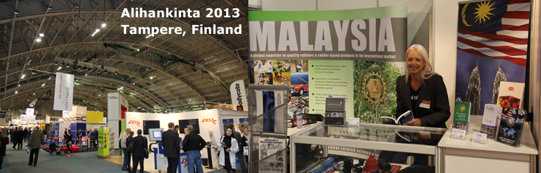 Gail Reader on the TARRC stand at Alihankinta 2013, Tampere, Finland