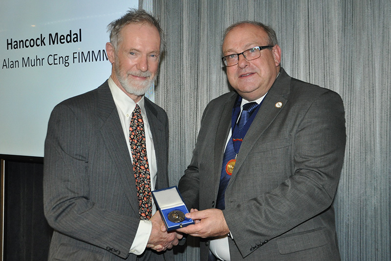 Dr Alan Muhr receiving the Hancock Medal at the IOM3 2018